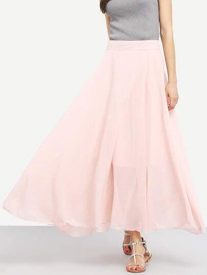 Gonna svasata lunga in chiffon Rosa