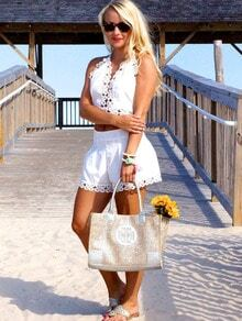 White Halter V Neck Top With Floral Crochet Shorts