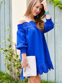 Blue Off The Shoulder Peplum Hem Dress -SheIn(Sheinside)