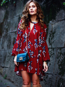 Wine Red Oxblood Baggy Long Sleeve Floral Flowery Dress -SheIn(Sheinside)