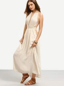 Apricot Deep V Neck Halter Neck Pleated Maxi Dress