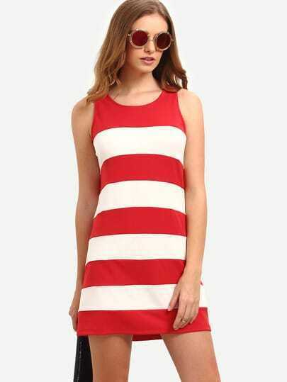 Red White Striped Sleeveless Dress