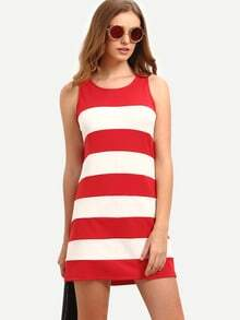 Red White Striped Sleeveless Dress