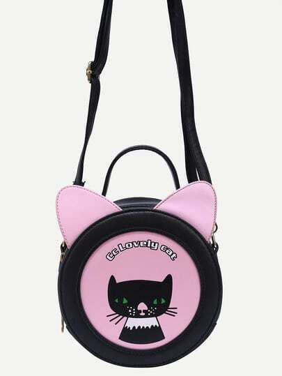 Cat Shaped & Print Crossbody Bag - Black