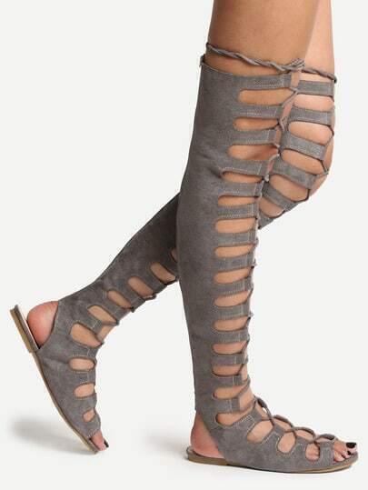 Grey Lace Up Thigh High Gladiator Sandals -SheIn(Sheinside)