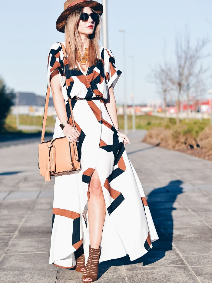 Geometric Print Split Maxi Dress цена