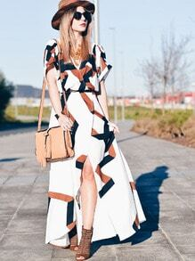 White Short Sleeve Geometric Print Split Maxi Dress