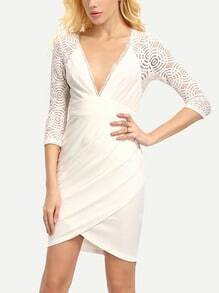 Cream Deep V Neck Wrap Lace Top Bodycon Dress