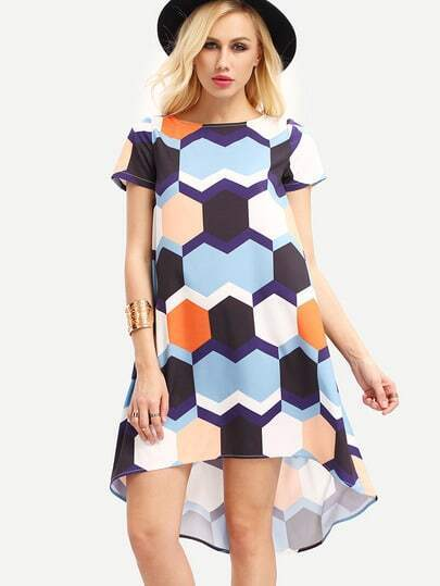 Multicolor Short Sleeve Print High Low Dress