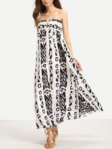 White Ladder-Cutout Shirred Printed Long Bandeau Dress
