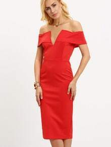 V-Notch Off-The-Shoulder Red Sheath Dress