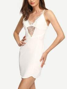 White Lace Insert Bodycon Cami Dress