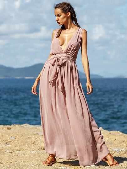 Brown Deep V Neck Tie-Waist Pleated Maxi Dress