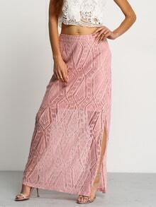 Pink Hollow Lace Split Side Maxi Skirt