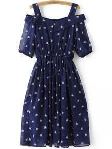 Navy Cold Shoulder Ice Cream Printed Chiffon Dress