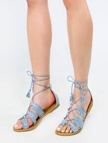 Open Toe Fringe Stud Sandals ASH BLUE