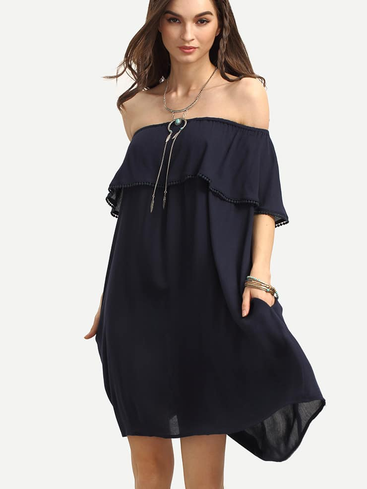 Navy Off The Shoulder Ruffle Shift Dress cute off the shoulder lemon dress for women