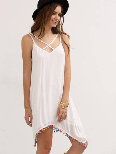 White Crisscross Spaghetti Strap Pom-pom Asymmetrical Dress