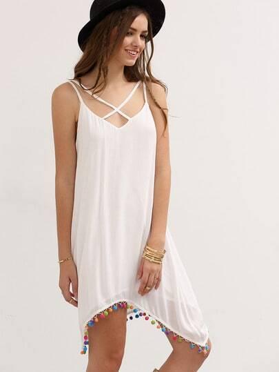 White Crisscross Spaghetti Strap Pom-pom Asymmetrical Dress