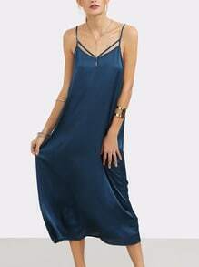 Navy Spaghetti Strap Backless Dress