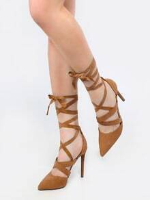 Pointy Toe Lace Up Stiletto Heels CAMEL
