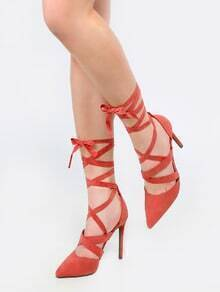 Pointed Toe Tie Up Stiletto Heels MAUVE