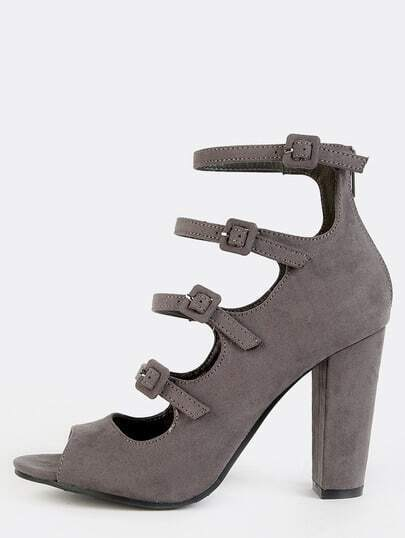 Ladder Cut Out Chunky Heels GREY