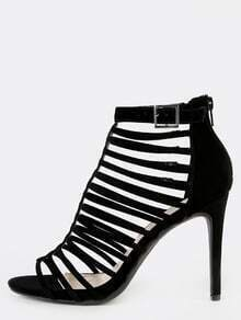 Open Toe Strappy Stiletto Heels BLACK
