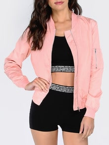 Pink Long Sleeve Pockets Zipper Jacket
