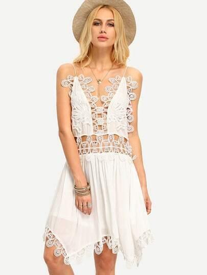 Beige Spaghetti Strap Hollow Crochet Patchwork Asymmetrical Dress