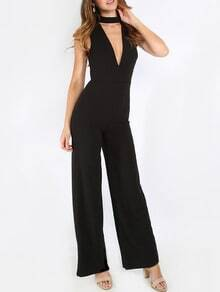 V Back Sleeveless Jumpsuit