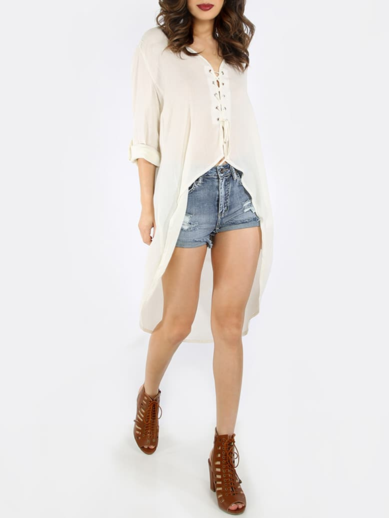 Buy White Lace High Low Blouse