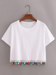 Contrast Fringe Crop T-Shirt