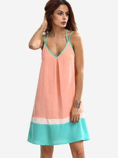 Orange Spaghetti Strap Backless Boho Color Block Dress Sundresses