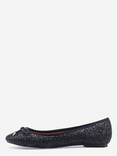 Bow Tie Glitter Ballet Flats - Black