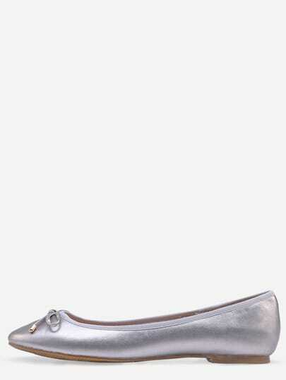 Faux Leather Bow Tie Ballet Flats - Silver