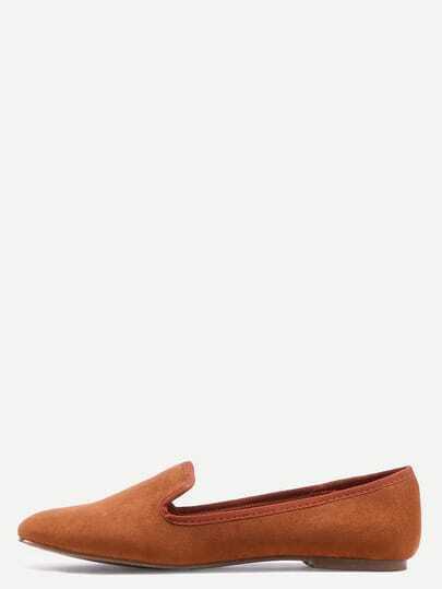 Suede Loafer Flats - Camel