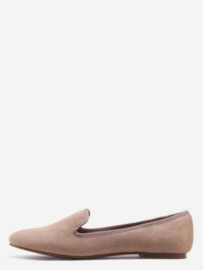 Suede Loafer Flats - Brown