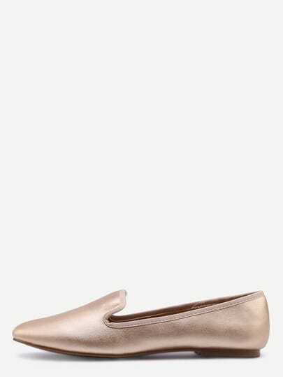 Suede Loafer Flats - Gold
