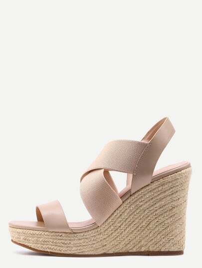 Faux Leather & Elastic Strap Wedges - Apricot