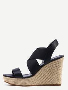 Faux Leather & Elastic Strap Wedges - Black