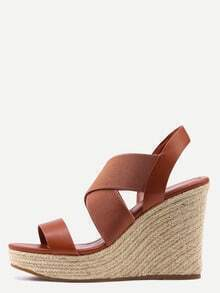 Faux Leather & Elastic Strap Wedges - Camel