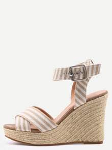 Crisscross Striped Ankle Strap Wedges - Apricot