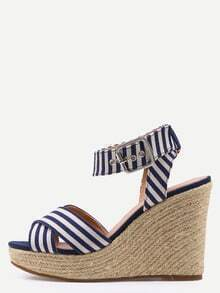 Crisscross Striped Ankle Strap Wedges - Blue