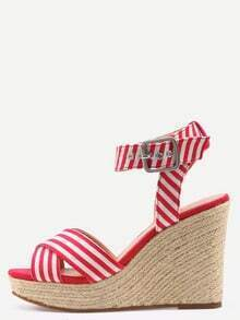Crisscross Striped Ankle Strap Wedges- Red