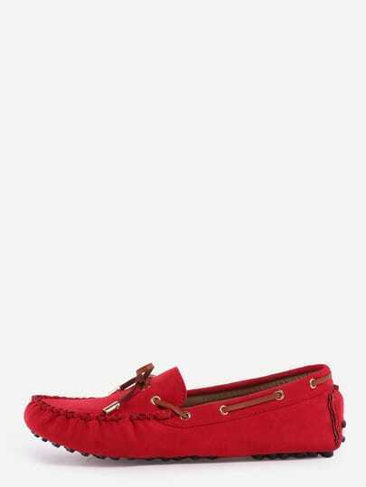 Faux Suede Contrast Bow Tie Loafers - Red