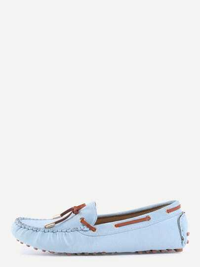 Faux Suede Contrast Bow Tie Loafers - Light Blue