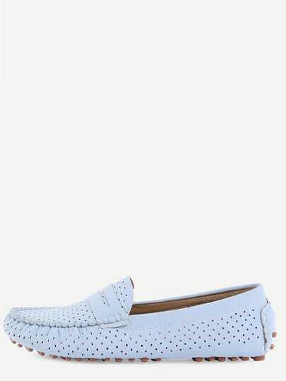 Faux Suede Eyelet Loafers - Light Blue