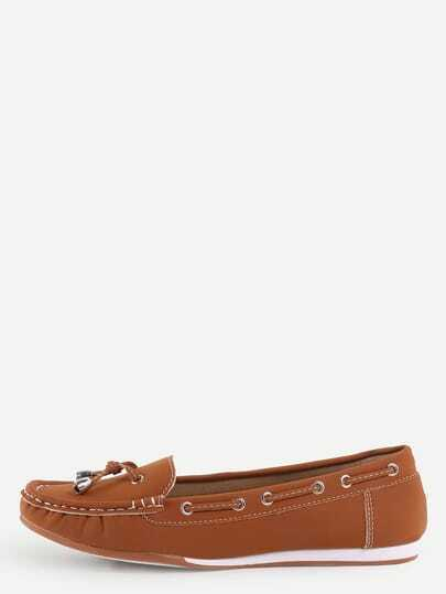 Faux Suede Drawstring Boat Shoes - Dark Brown