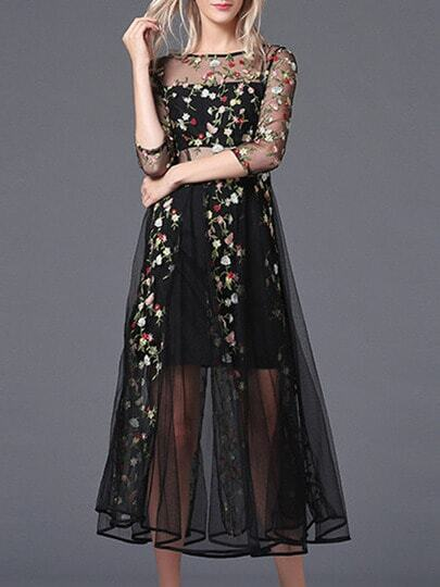 Black Sheer Gauze Embroidered Midi Dress Shein Sheinside